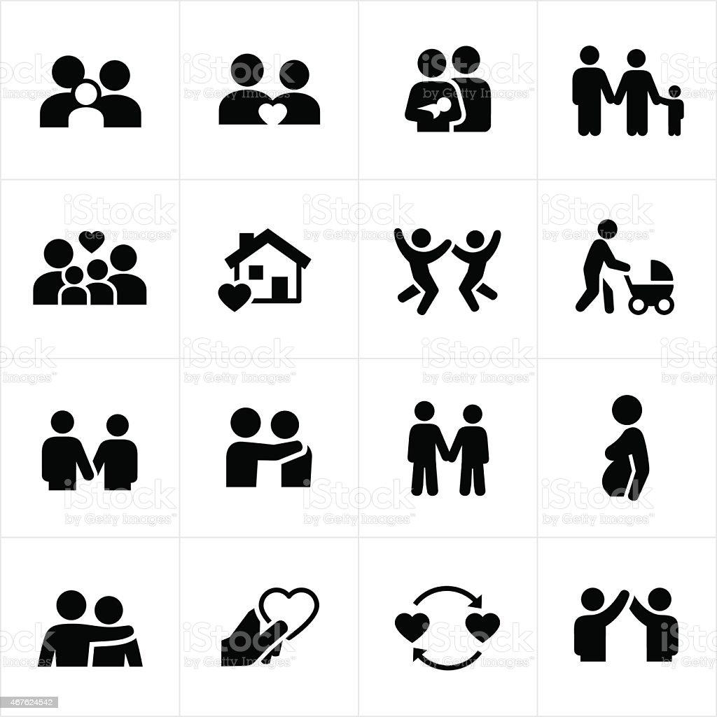 Familien Und Paare Beziehungen Symbole Stock Vektor Art Und Mehr