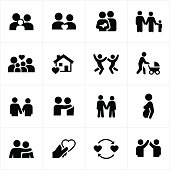 Icons depicting family relationships. The icons include a husband and wife, children, and baby. There are also icons showing couples relationships. The icons can be used to represent a multitude of family relationships and settings.