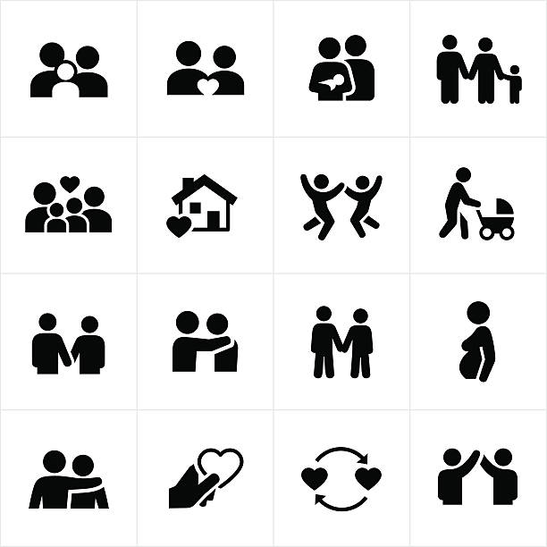 Family and Couple Relationships Icons Icons depicting family relationships. The icons include a husband and wife, children, and baby. There are also icons showing couples relationships. The icons can be used to represent a multitude of family relationships and settings. parenting stock illustrations