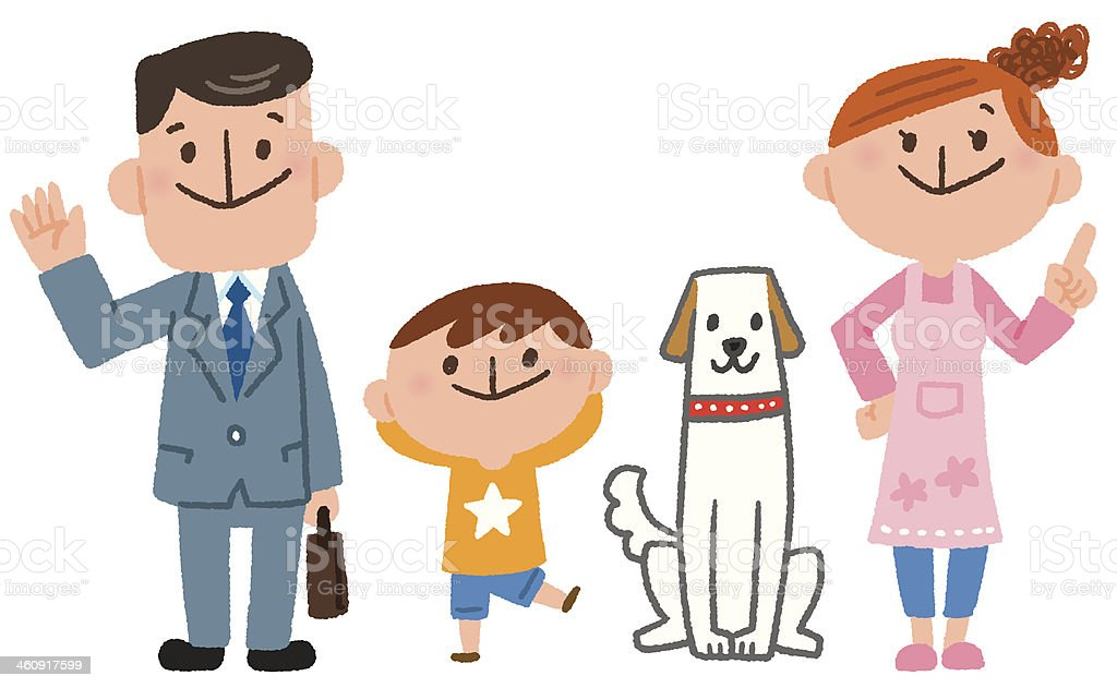 family and dog vector art illustration
