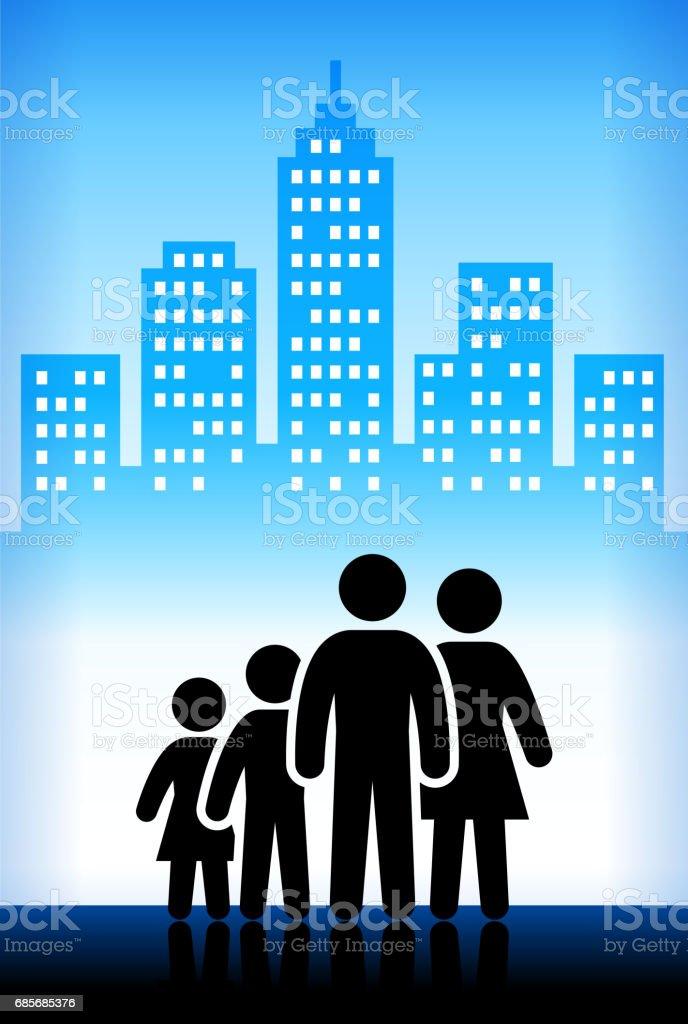家庭和父親圖藍色向量城市背景 免版稅 家庭和父親圖藍色向量城市背景 向量插圖及更多 一起 圖片