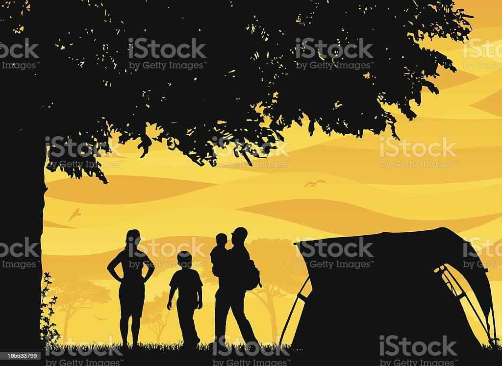 Family and Friends Camping Scene royalty-free family and friends camping scene stock vector art & more images of adult
