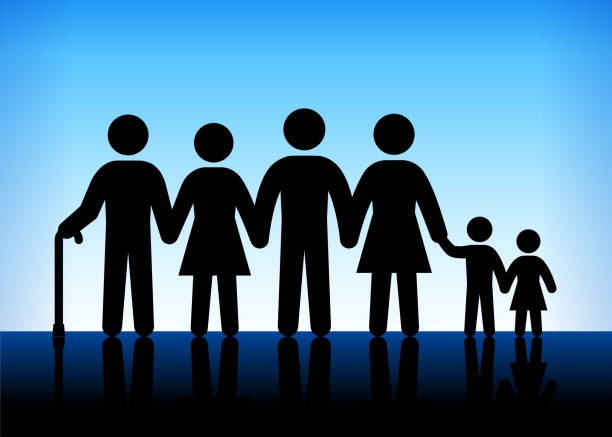 family and generation blue vector background - old man stick figure silhouette stock illustrations, clip art, cartoons, & icons