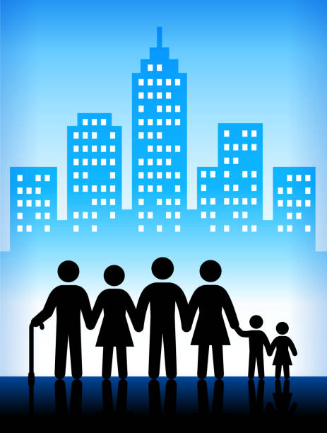 family and generation modern city background - old man stick figure background stock illustrations, clip art, cartoons, & icons