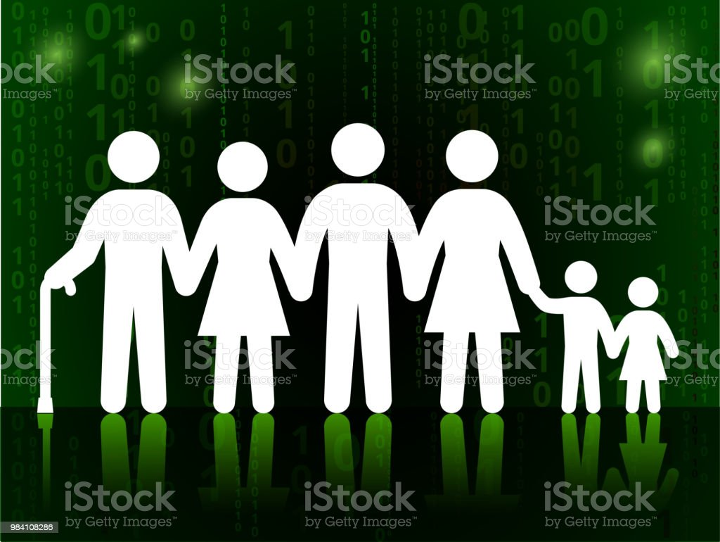 family and generation on binary code black background stock vector