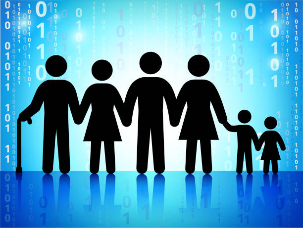 family and generation on binary code blue background - old man stick figure background stock illustrations, clip art, cartoons, & icons