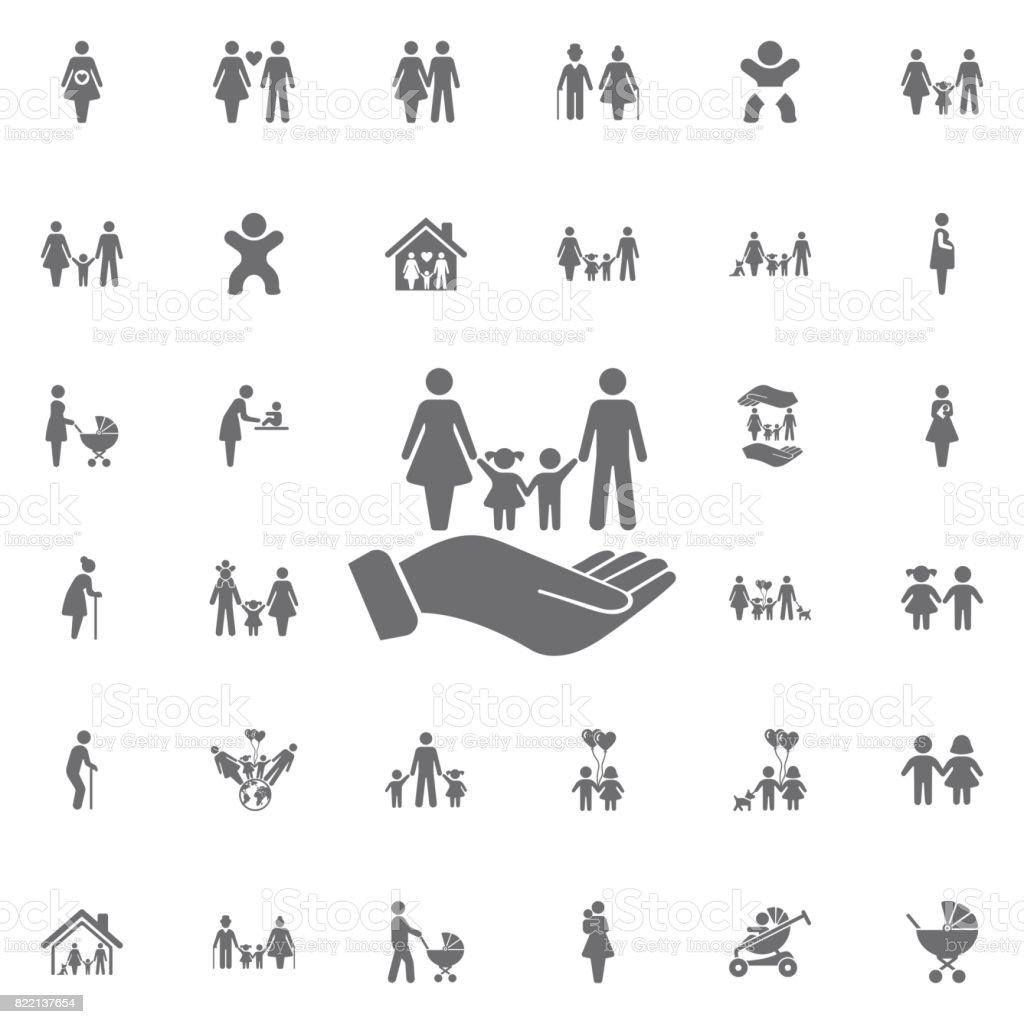 famille et mains vector icon. signe de l'assurance-vie. Ensemble d'icônes familles - Illustration vectorielle