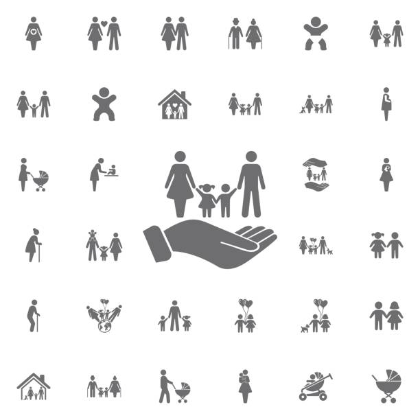 stockillustraties, clipart, cartoons en iconen met familie en handen vector pictogram. levensverzekeringen teken. set van familie pictogrammen - sociale dienst