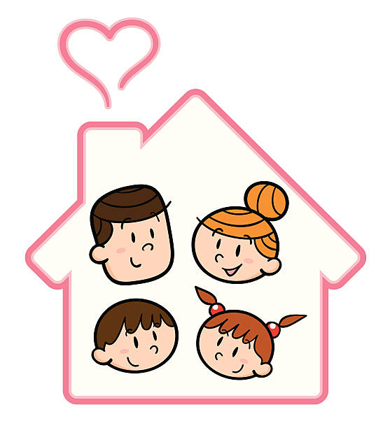 Family and home vector art illustration