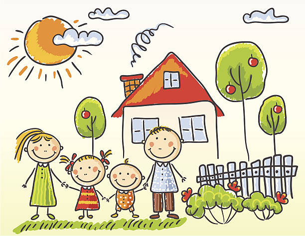 Family and House vector art illustration