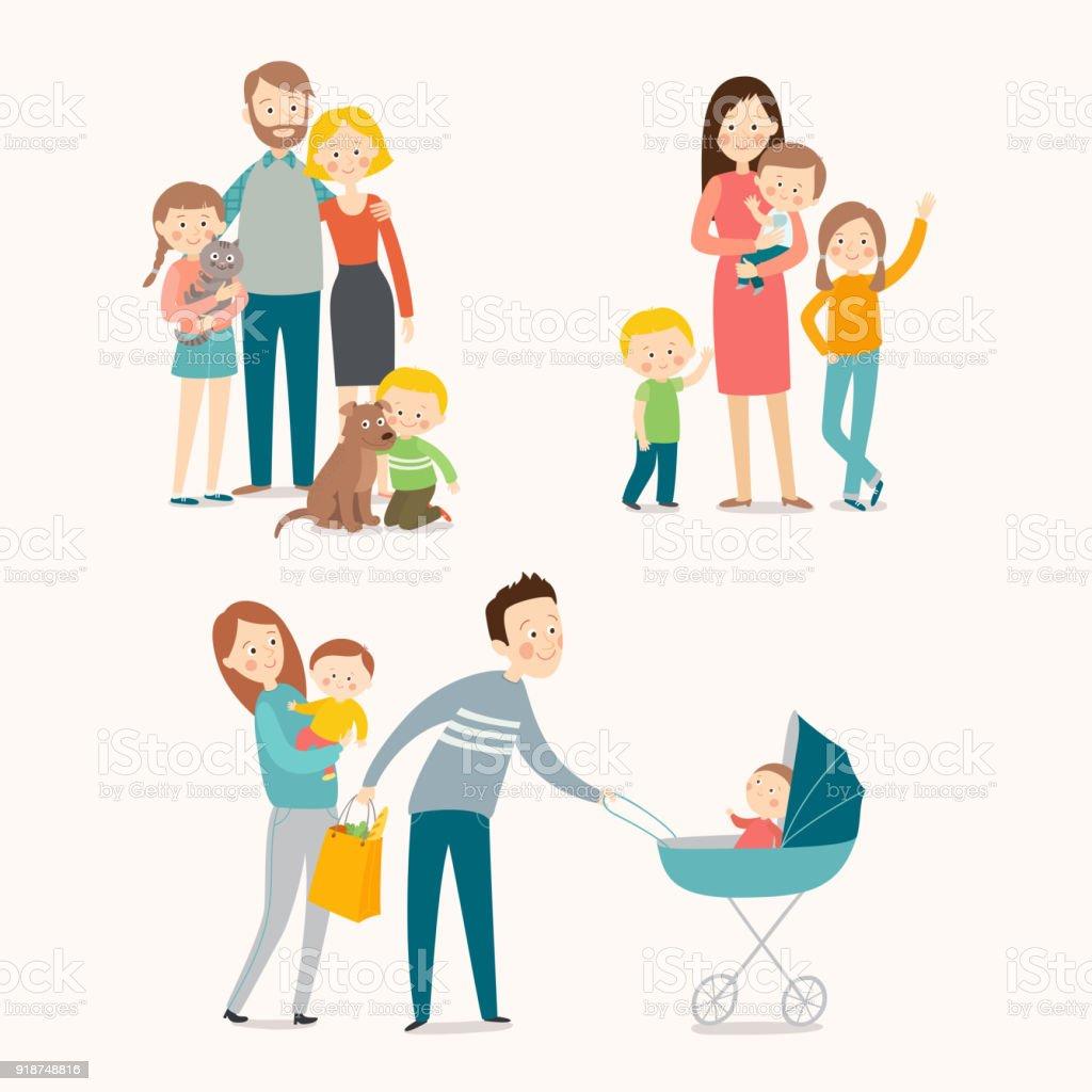 Famille et enfants. - Illustration vectorielle