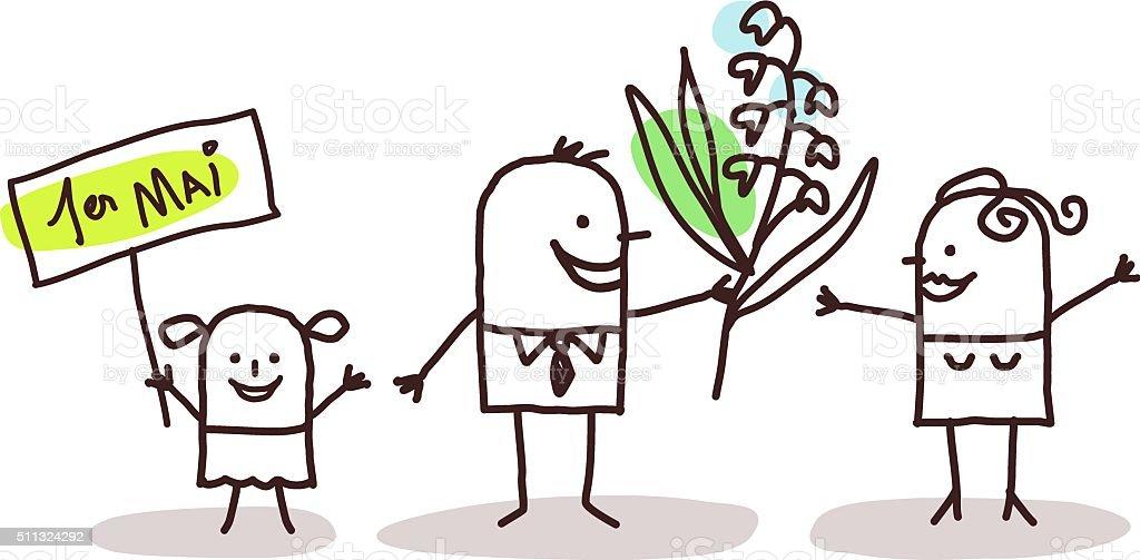 Familia y lirio de el Valle - ilustración de arte vectorial