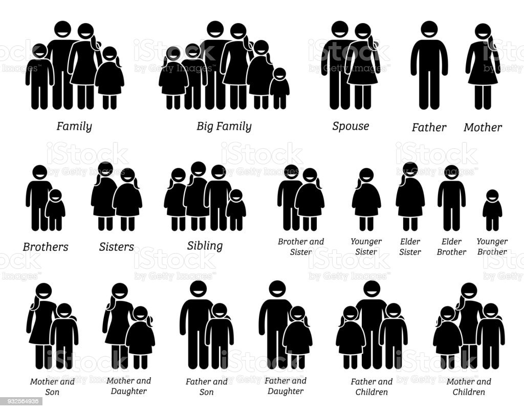 Family and People Icons. vector art illustration