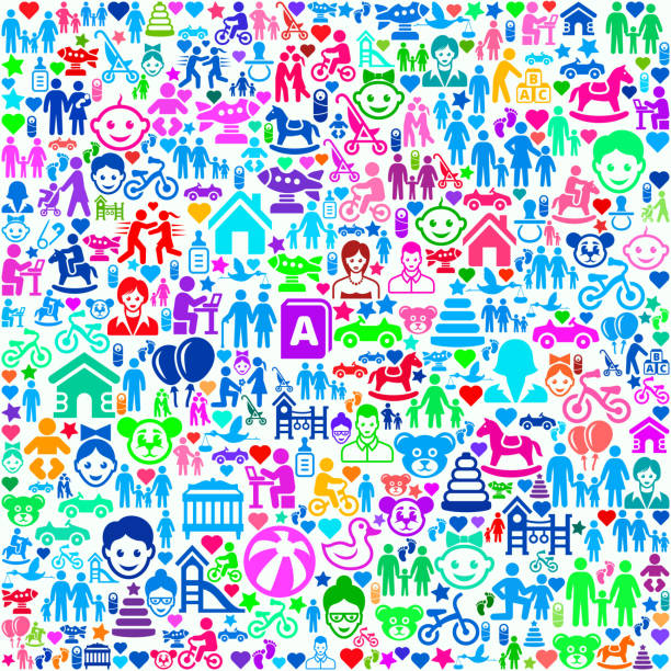 Family and People on Seamless Background vector art illustration