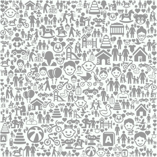 Family and People on Seamless Background Family and People on Seamless Background pattern stock illustrations