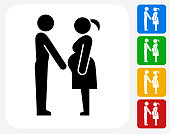 Family and Pregnancy Icon. This 100% royalty free vector illustration features the main icon pictured in black inside a white square. The alternative color options in blue, green, yellow and red are on the right of the icon and are arranged in a vertical column.