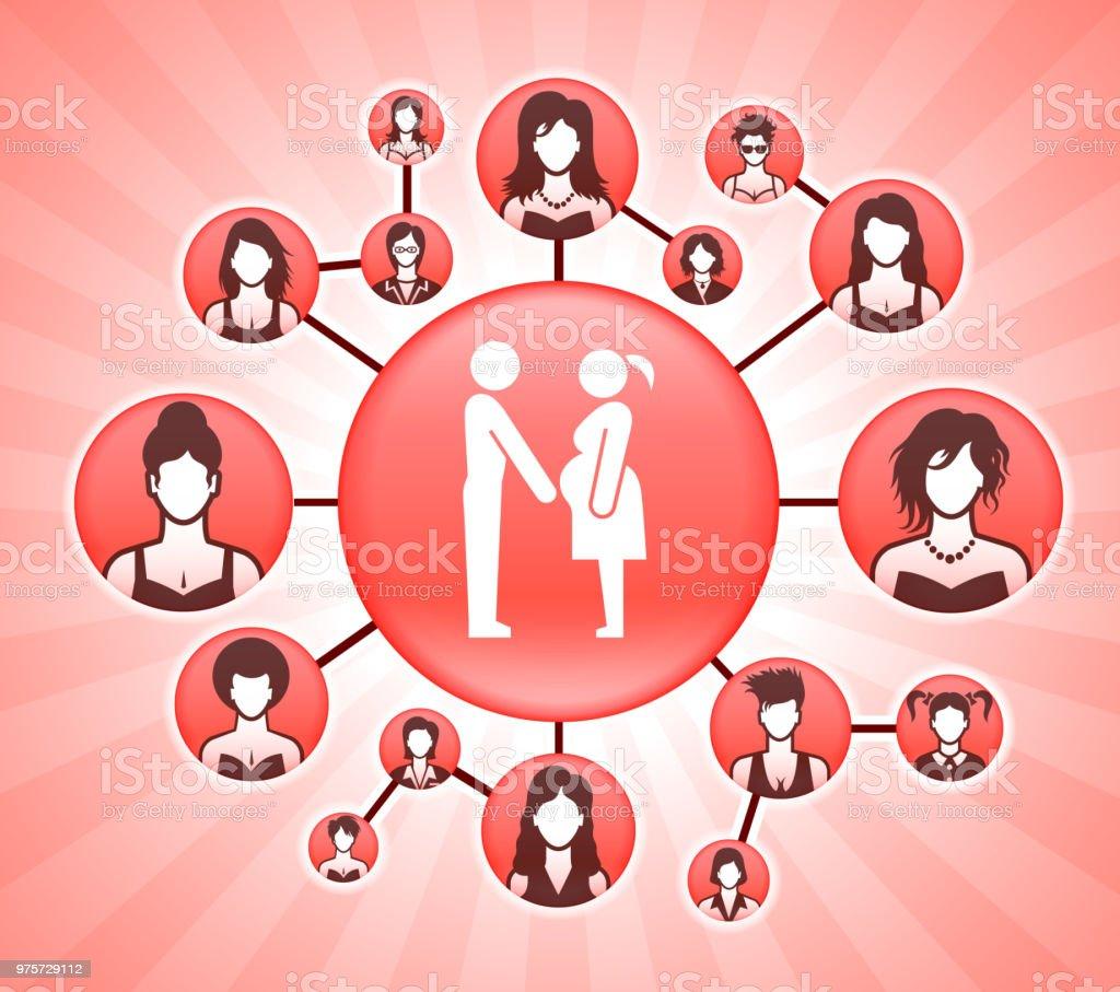 Familie und Schwangerschaft Frauenrechte Rosa Vector Hintergrund - Lizenzfrei Anzug Vektorgrafik