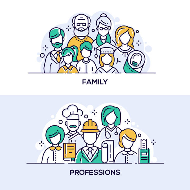 Family and professions vector banner templates set vector art illustration