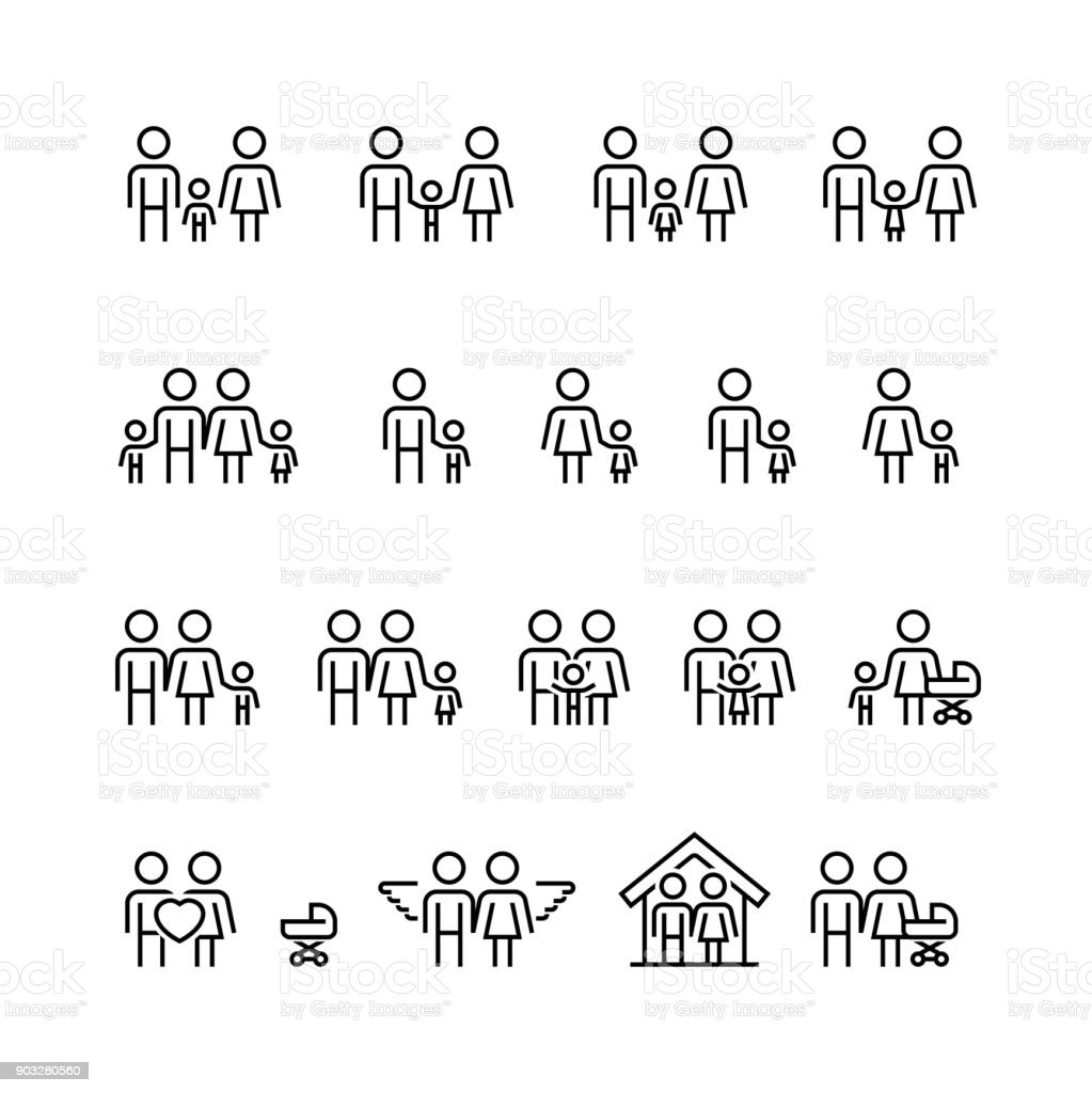 Family and relationship vector icon set in thin line style vector art illustration
