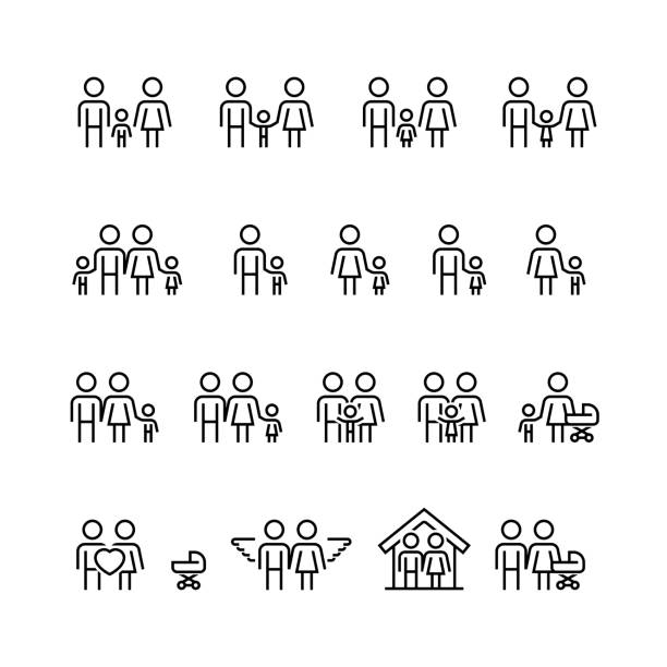 family and relationship vector icon set in thin line style - family stock illustrations, clip art, cartoons, & icons