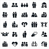 A set of icons representing families and other relationships. The icons include families, couples, husbands, wives, love, family life, pets, and home life among others.