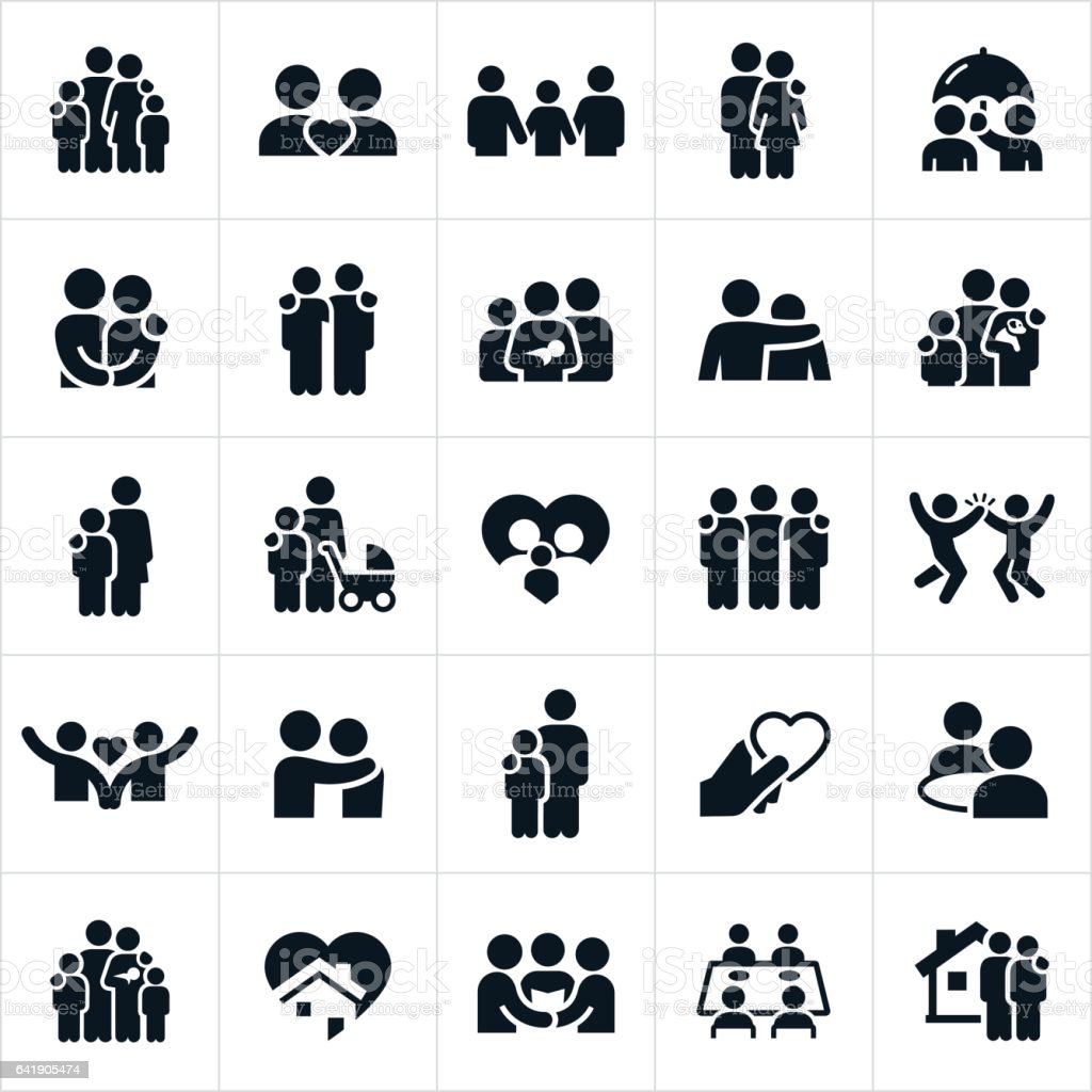 Family and Relationships Icons - illustrazione arte vettoriale