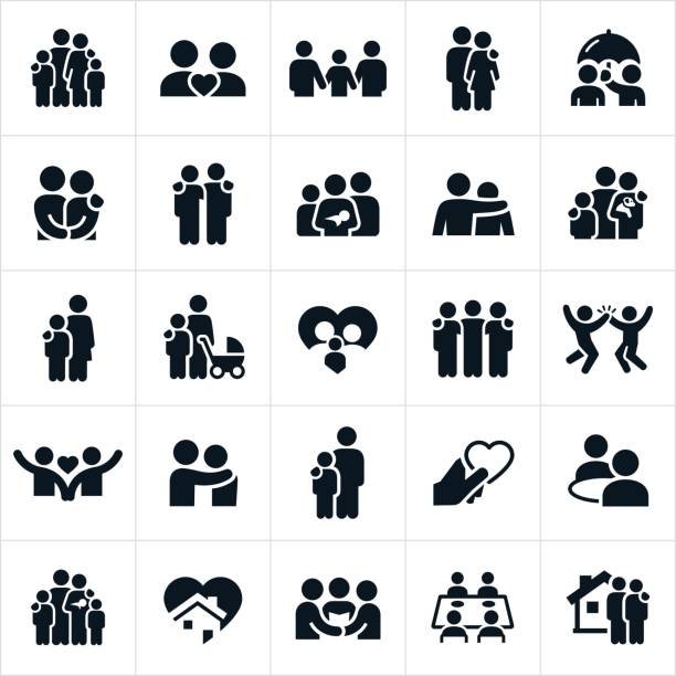 Family and Relationships Icons A set of icons representing families and other relationships. The icons include families, couples, husbands, wives, love, family life, pets, and home life among others. parenting stock illustrations