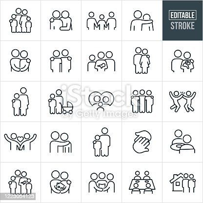 A set family and loving relationships icons that include editable strokes or outlines using the EPS vector file. The icons include a family of four, father with arm around shoulder of child, family of three holding hands, father with arm around shoulder of son, husband and wife holding hands, family of four with mother holding baby, man with arm on shoulder of woman, couple holding a puppy dog, mother with arm on shoulder of son, mother and son with baby stroller, family in a heart, couple holding hands, two hands touching, a couple seated at a table eating, family of five, couple holding a house, couple getting married, family of four at dinner table and a couple in front of a new home to name a few.