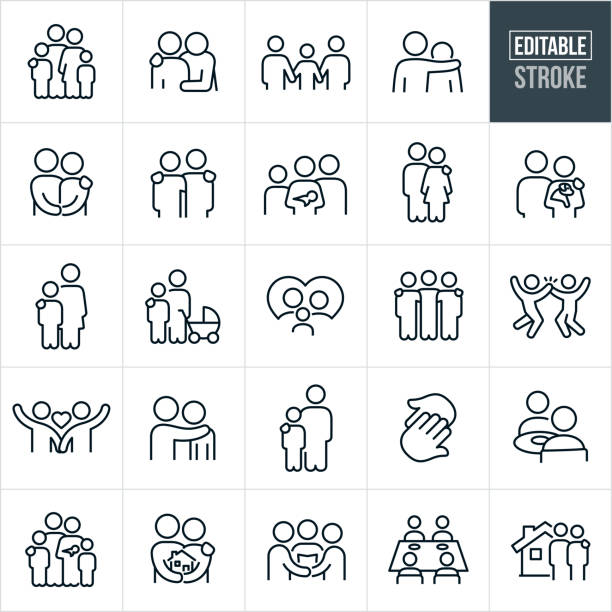 Family And Relationships Thin Line Icons - Editable Stroke A set family and loving relationships icons that include editable strokes or outlines using the EPS vector file. The icons include a family of four, father with arm around shoulder of child, family of three holding hands, father with arm around shoulder of son, husband and wife holding hands, family of four with mother holding baby, man with arm on shoulder of woman, couple holding a puppy dog, mother with arm on shoulder of son, mother and son with baby stroller, family in a heart, couple holding hands, two hands touching, a couple seated at a table eating, family of five, couple holding a house, couple getting married, family of four at dinner table and a couple in front of a new home to name a few. couple stock illustrations
