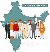 Indian old man standing together in different traditional national clothes in on background with indian map in flat style. Flat design people characters. Family and social concept.