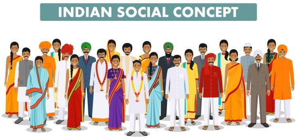 Family and social concept. Group indian people standing together in different traditional clothes on white background in flat style. Vector illustration. Indian man and woman standing together in different traditional clothes on white background in flat style. Different dress styles. Flat design people characters. Family and social concept. indian family stock illustrations