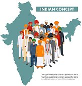 Indian man standing together in different traditional clothes in different traditional national clothes on background with indian map in flat style. Flat design people characters. Family and social concept.
