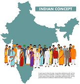 Indian man and woman standing together in different traditional national clothes on background with indian map in flat style. Flat design people characters. Family and social concept.