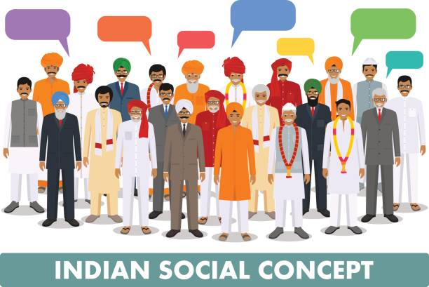 family and social concept. group young and senior indian people and speech bubbles standing together in different traditional clothes on white background in flat style. vector illustration. - old man standing background stock illustrations, clip art, cartoons, & icons