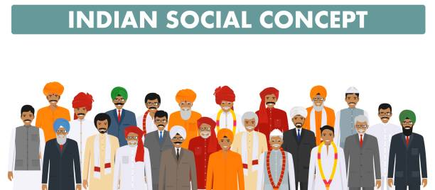 Family and social concept. Group young and senior indian people standing together in different traditional clothes on white background in flat style. Vector illustration. Indian man standing together in different traditional clothes on white background in flat style. Different dress styles. Flat design people characters. Family and social concept. indian family stock illustrations