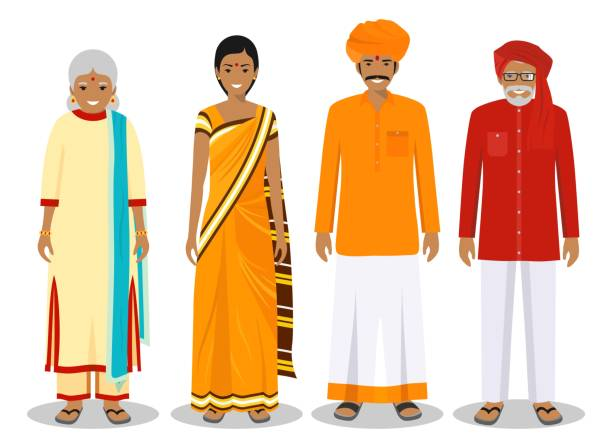 family and social concept. indian person generations at different ages. set of adult people in traditional national clothes: father, mother, grandmother, grandfather standing together. vector illustration. - old man clipart stock illustrations, clip art, cartoons, & icons