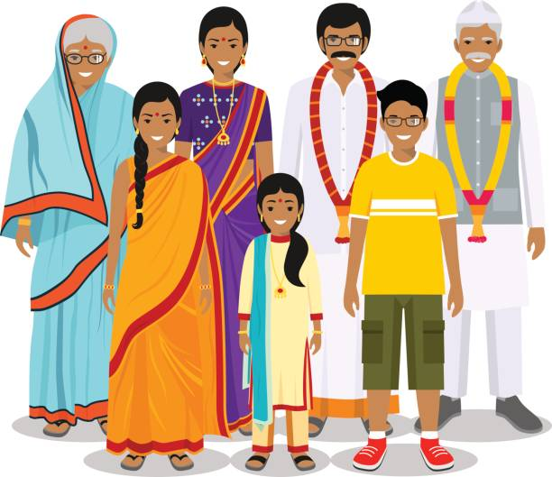 Family and social concept. Indian person generations at different ages. Set of people in traditional national clothes: grandmother, grandfather, father, mother, boy, girl standing together. Vector illustration. Generations man. Indian people: grandmother, grandfather, father, mother, boy, girl standing together in traditional clothes. Social concept. Family concept. Vector illustration. indian family stock illustrations