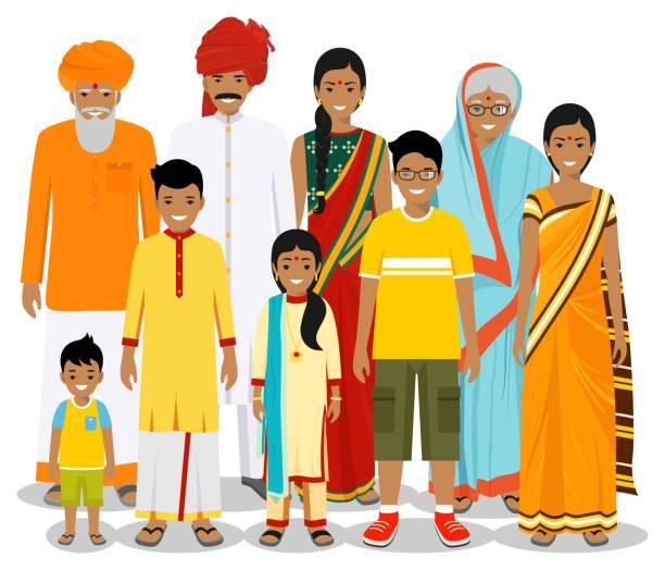 stockillustraties, clipart, cartoons en iconen met gezins-en sociaal concept. indische persoons generaties bij verschillende leeftijden. set van mensen in de traditionele nationale kleding grootmoeder, grootvader, vader, moeder, jongen, meisje bij elkaar staan. vector. - indiase cultuur