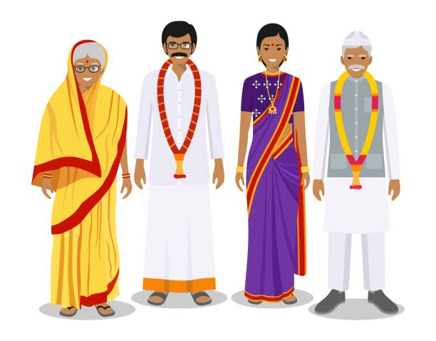 Family and social concept. Indian person generations at different ages. Set of adult people in traditional national clothes: father, mother, grandmother, grandfather standing together. Vector illustration. Generations man. Indian people father, mother, grandmother, grandfather standing together in traditional clothes. Social concept. Family concept. indian family stock illustrations