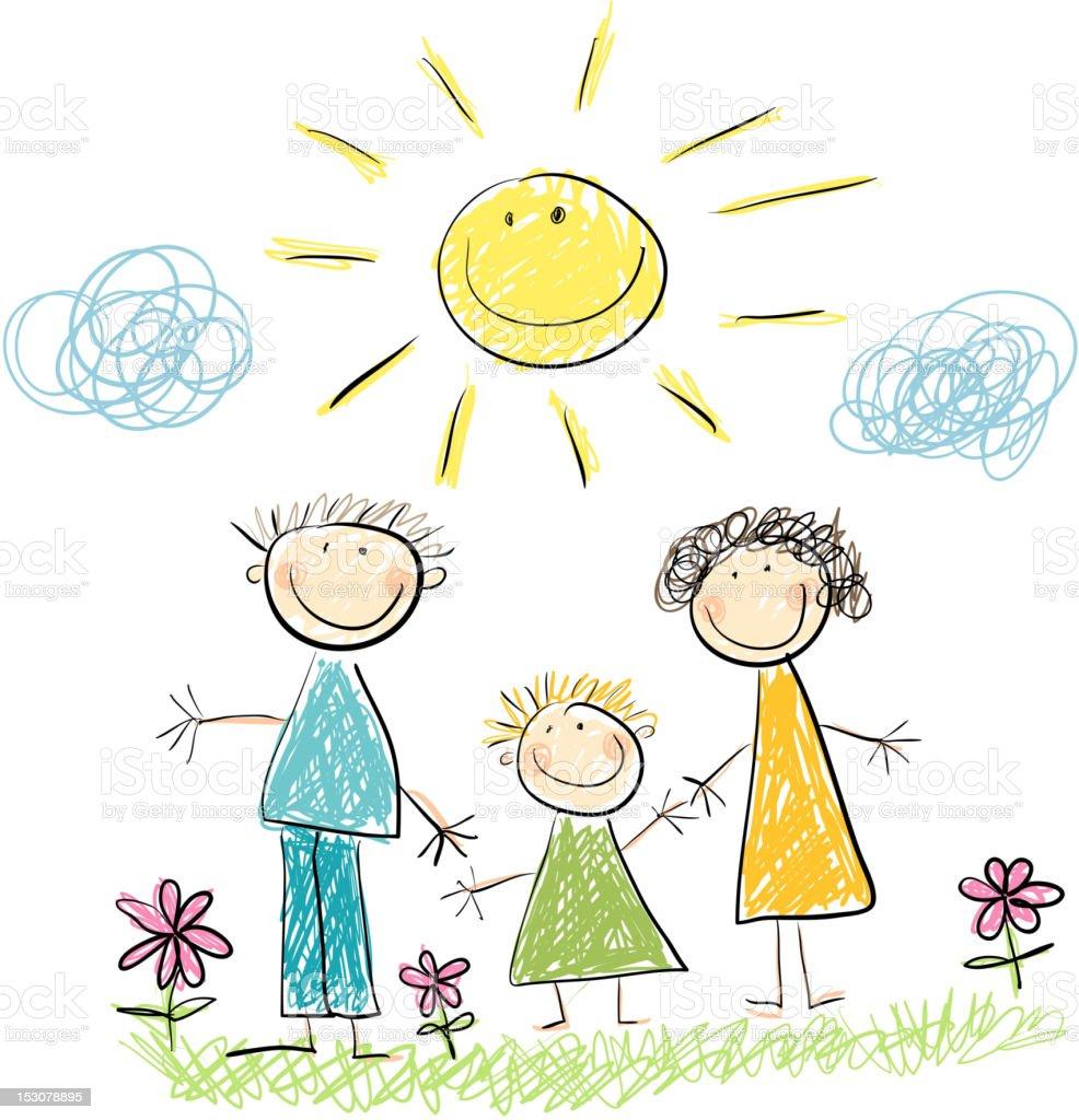Famille et soleil - Illustration vectorielle