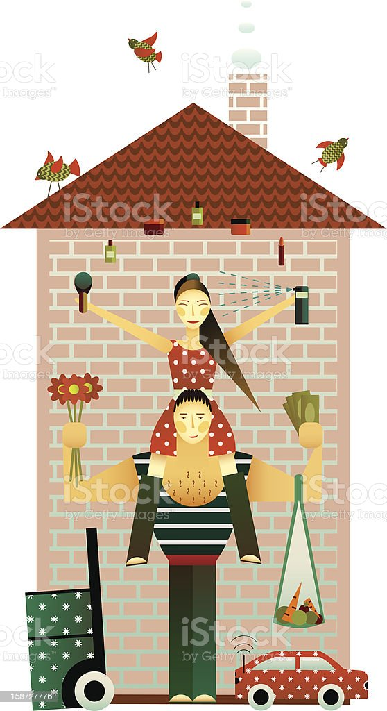 Family and the House royalty-free stock vector art