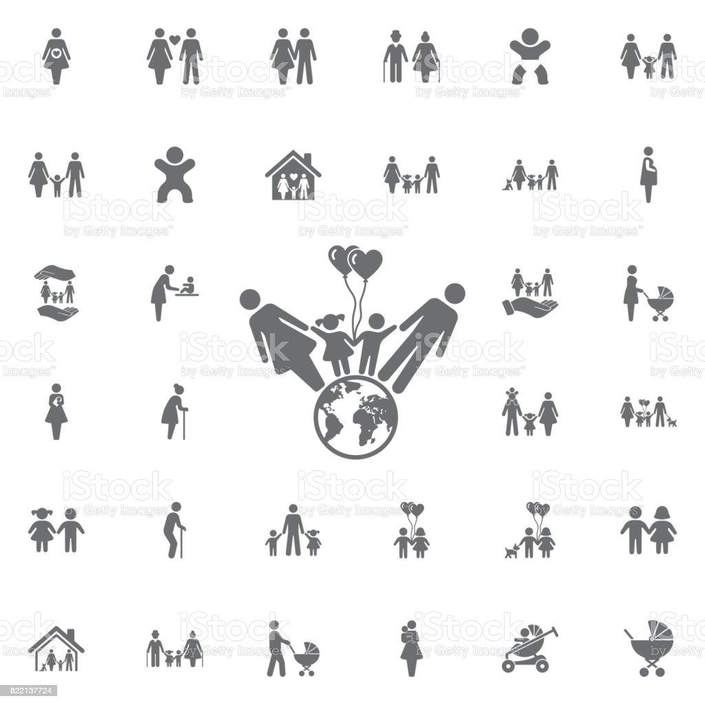 Vecteur de l'icône de la famille et du monde. Ensemble d'icônes familles - Illustration vectorielle