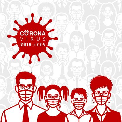 Family are wearing masks. Life with Coronavirus.