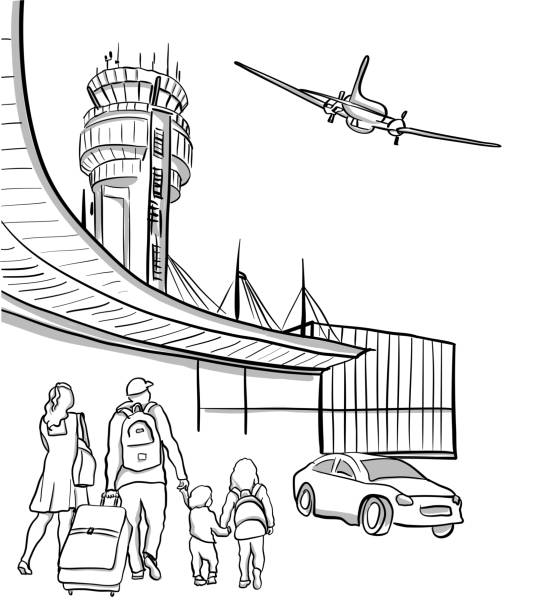 Family Arriving At Airport Sketch illustration of a family, or a couple and their two small children arriving at the airport with plane in the sky and a car leaving the airport airport drawings stock illustrations