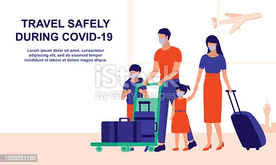 istock Family Arriving At The Airport. Social Distancing And COVID-19 Coronavirus Outbreak Prevention, Travel And Tourism Concept. Vector Flat Cartoon Illustration. 1253251152