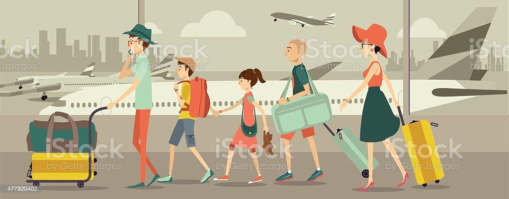 Family at an airport transit vector art illustration