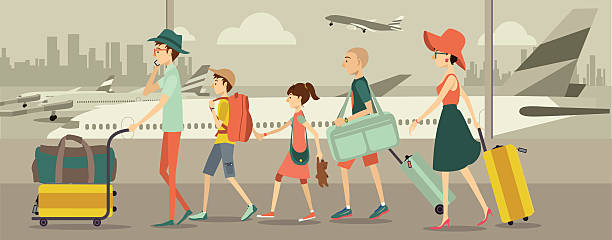 family at an airport transit - family trips stock illustrations