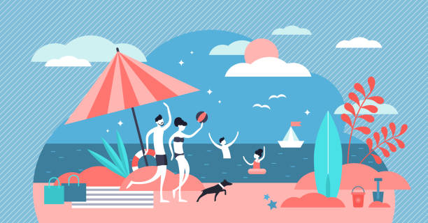 Family at beach vector illustration. Flat tiny summer relax persons concept vector art illustration