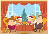 Happy family, father, mother, son and daughter, sitting at home near the table and celebrating Christmas with view on fir tree, holiday background cartoon. Eps10, contains transparencies. Vector