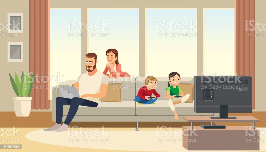 Ilustracion De Familia En Casa Cuidado Madre Padre Ninos Jugando El
